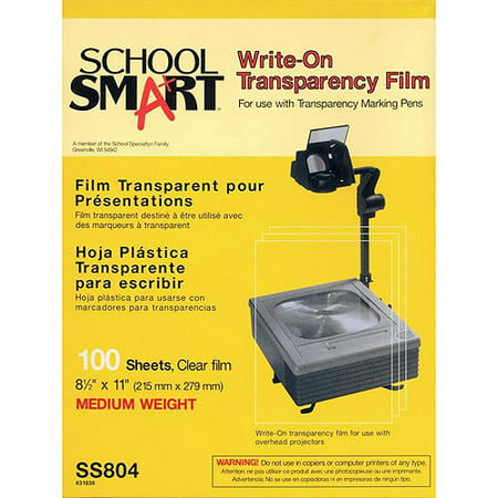 "School Smart Medium Weight Write-On Transparency Film, 8.5"" x 11"", 100-Pack"