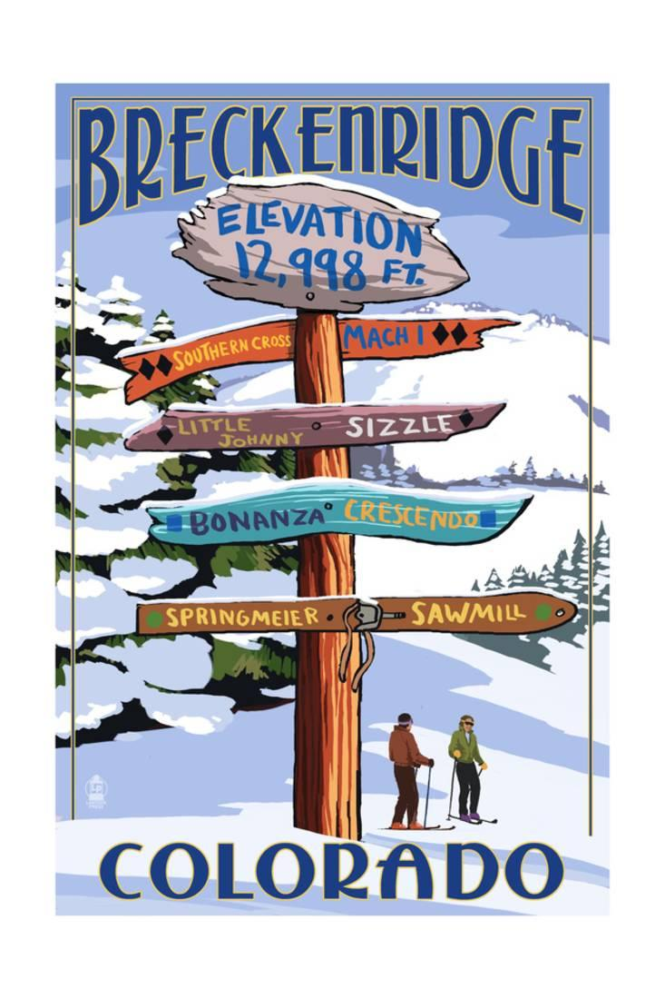 Breckenridge, Colorado Ski Run Signpost Print By Lantern Press by Art.com
