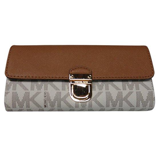 48a287d03c9e Michael Kors - Michael Kors Bridgette Saffiano Leather/ PVC Flap Wallet -  Walmart.com