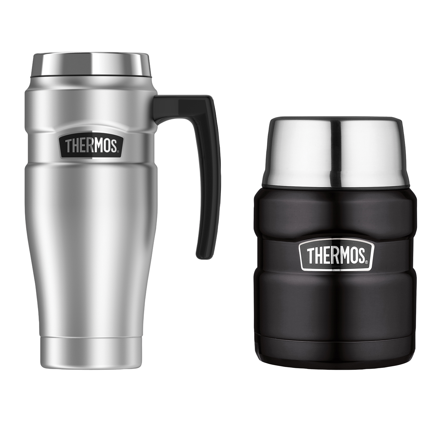 Thermos Stainless King 16-Ounce Travel Mug, Stainless Steel & Thermos Stainless King 16-Ounce Food Jar with Folding Spoon, Matte Black