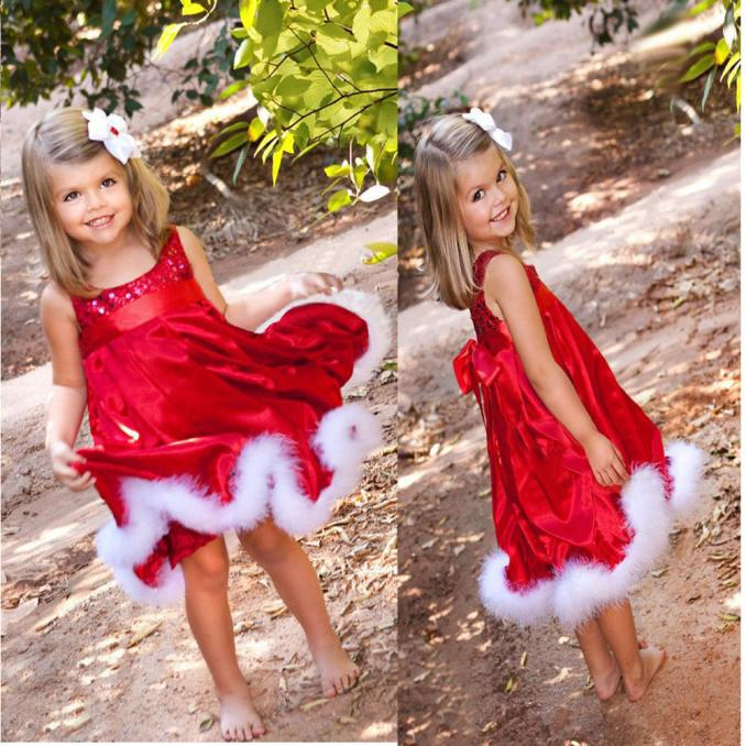 Baby Girls Kids Christmas Party Red Paillette Tutu Dresses Xmas Gift 130