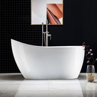 "Woodbridge 54"" Acrylic Freestanding Bathtub Contemporary Soaking Tub with Brushed Nickel Overflow and Drain, B-0006"