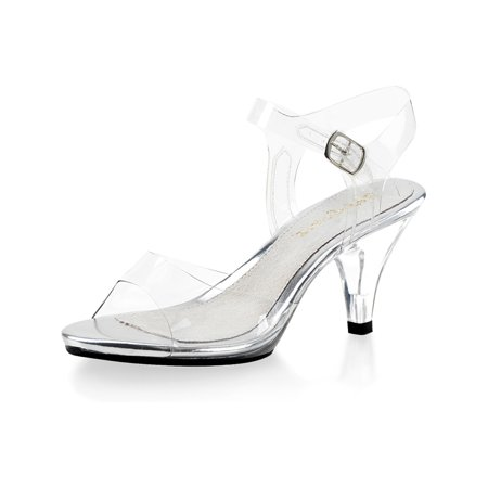 Demure and Elegant Women's Clear Strappy Sandals with 3 Inch Lucite Heels - Clear Sandals