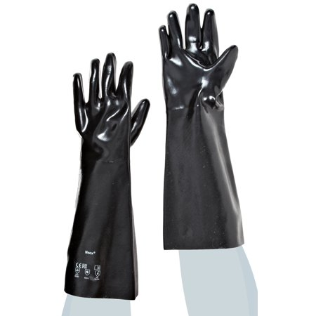 Ansell Size 10 Large Black Neox 18'' Fleece/Jersey Lined Neoprene Fully Coated Resistant Gloves With Smooth Finish And Gauntlet - Fully Coated Gauntlet