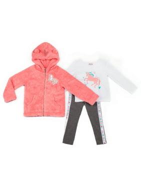 Little Lass baby Toddler Girl Sherpa Fleece Unicorn Jacket, Long Sleeve Top & Knit Leggings, 3pc Outfit Set