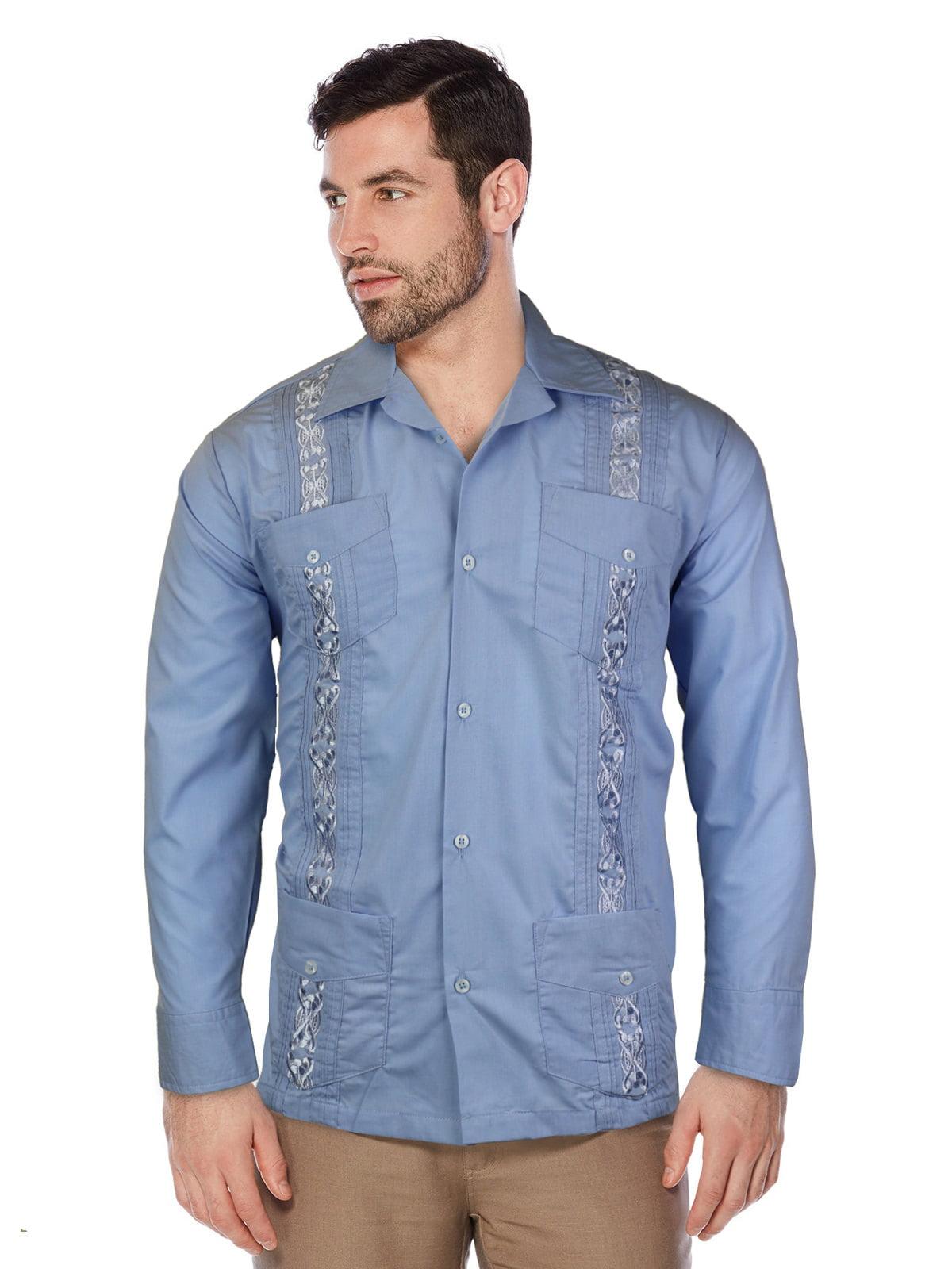 Guayabera Men\'s Cuban Beach Wedding Long Sleeve Button-Up Casual ...