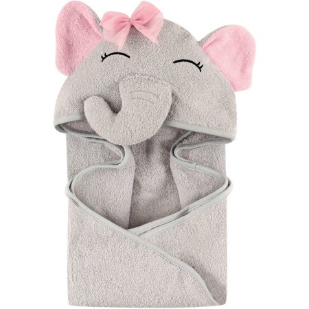 - Hudson Baby Woven Terry Animal Hooded Towel, Pretty Elephant