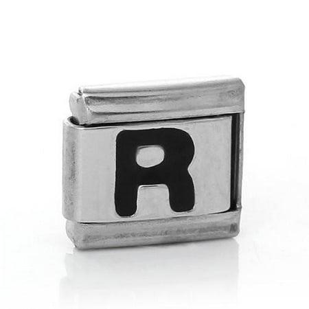 Italian Charm Bracelet Link Square Silver Tone Alphabet Letter - Letter Links