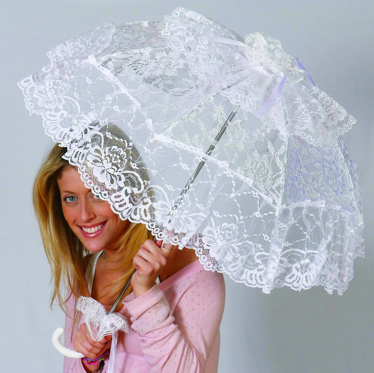 "Steampunk Victorian Costume Umbrella Parasol 24"" - White"
