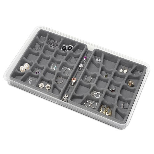 """Whitmor 6483-4991-GREY 16"""" x 9"""" x 1.5"""" Clear and Grey Stacking Jewelry Tray"""