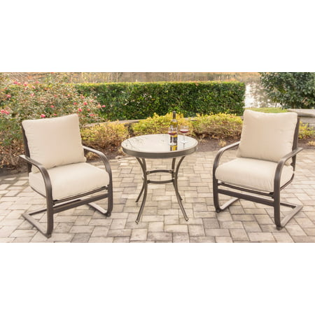 Hanover Summer Nights 3 Piece Chat Set With 2 C Spring Chairs And 30   Glass Top Table