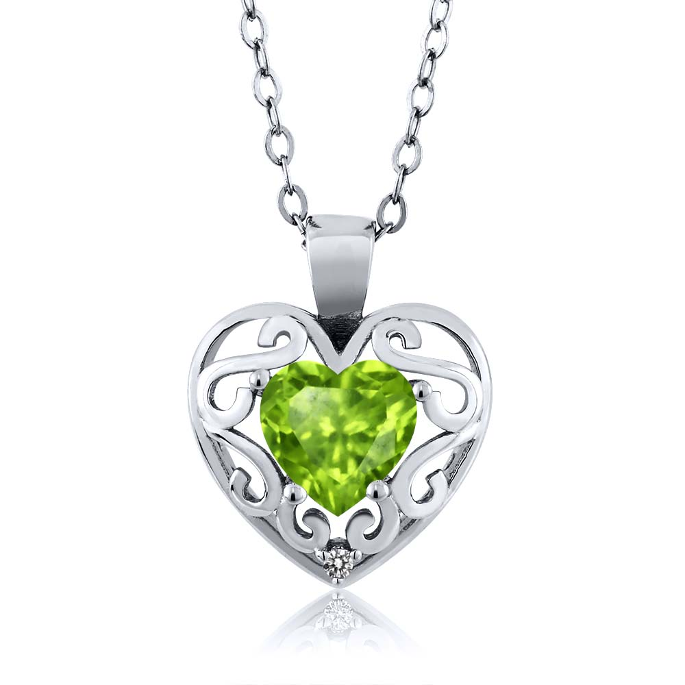 0.84 Ct Heart Shape Green Peridot White Diamond Sterling Silver Pendant
