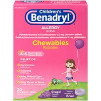 6 Pack Childrens Benadryl Allergy Chewables Grape 20 Tablets Each