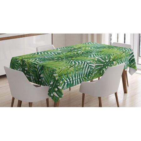 Palm Tree Table Decorations (Leaf Tablecloth, Tropical Exotic Banana Forest Palm Tree Leaves Watercolor Design Image, Rectangular Table Cover for Dining Room Kitchen, 60 X 90 Inches, Light Green and Dark Green, by)