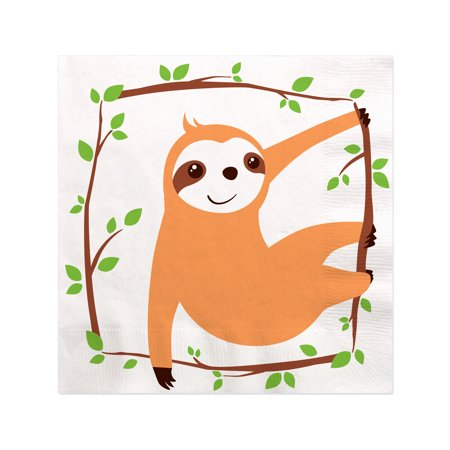 Let's Hang - Sloth - Baby Shower or Birthday Party Cocktail Beverage Napkins (16 Count) (Baby Shower Cocktails)