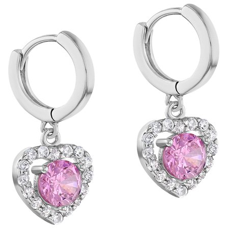 925 Sterling Silver Pink CZ Small Hoop Dangle Heart Earrings for Girls Teens - image 1 of 5