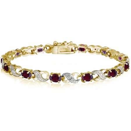 6.6 Carat T.G.W. Created Ruby and Diamond Accent Gold-Tone Infinity