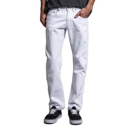 Victorious Mens Slim Fit Colored Stretch Jeans GS21 - White - 30/32