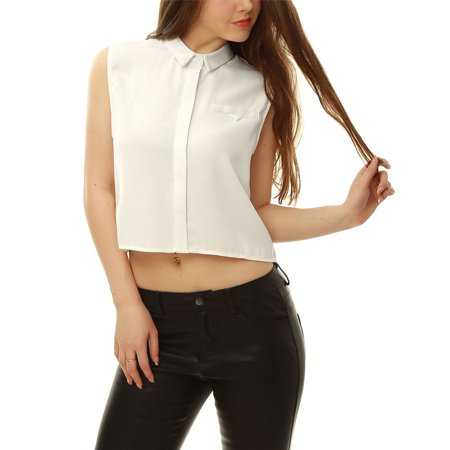 Image of Allegra K Women's Hidden Placket Crop Sleeveless Shirt