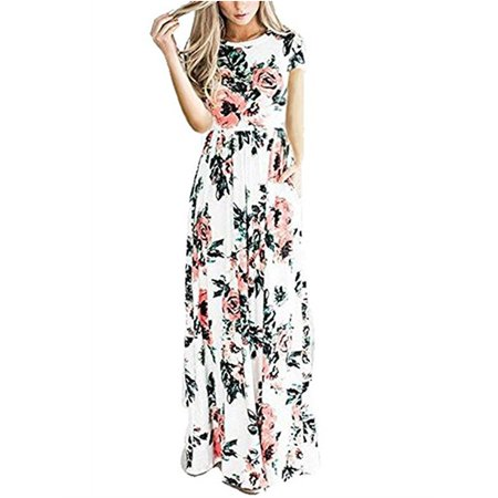 Floral Printing Women Short Sleeve Long Dress Party Bench Wear