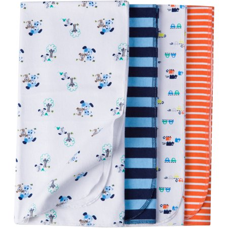 Gerber Newborn Baby Boy Assorted Flannel Receiving Blanket, 4-Pack