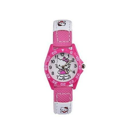 My Kitty Canvas Patch Design Pink Watch Girls Hello Kitty Style Watch-HK-WATCH