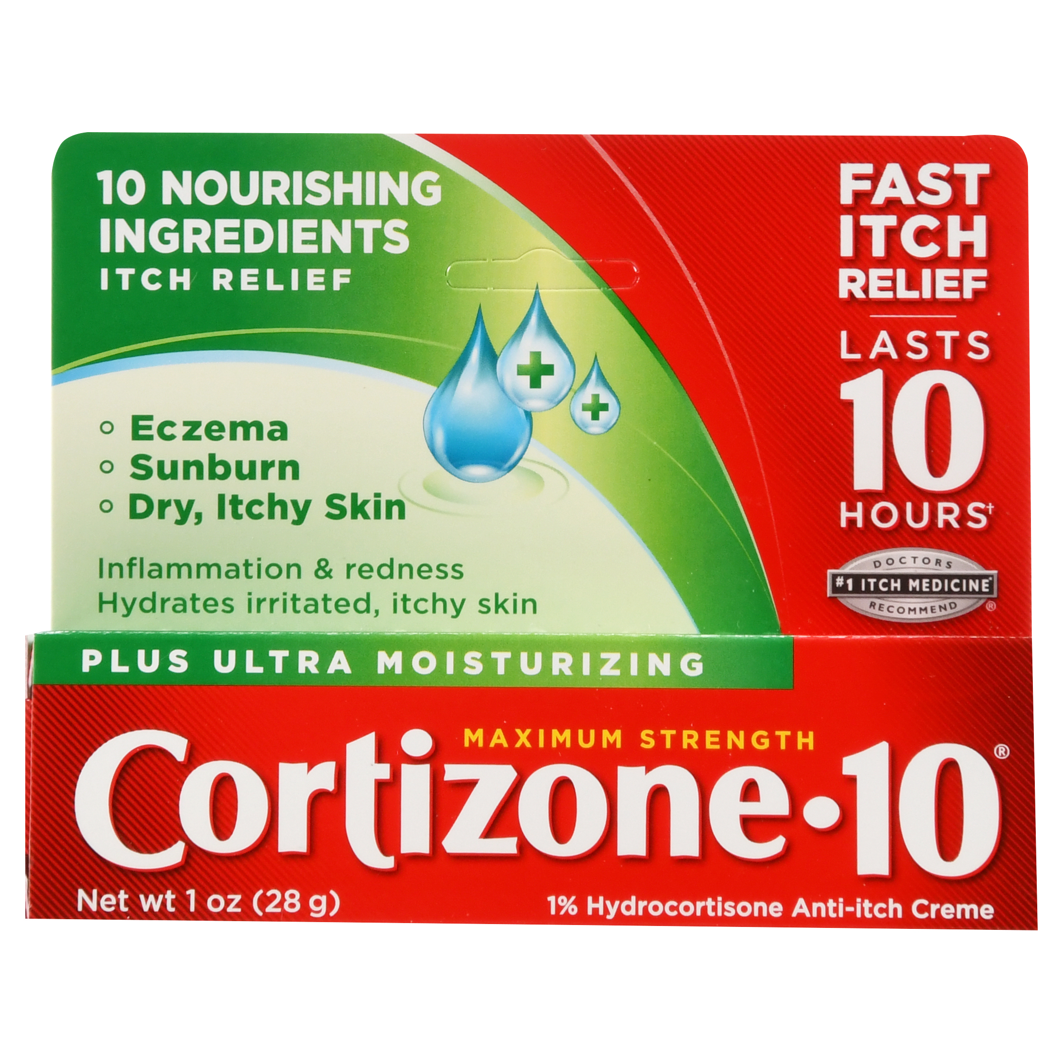 Cortizone 10 Plus Ultra Moisturizing 1% Hydrocortisone Anti-Itch Crème, 1 oz