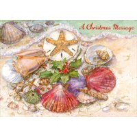 Red Farm Studios Multi Colored Shells on Beach Box of 18 Coastal Christmas Cards
