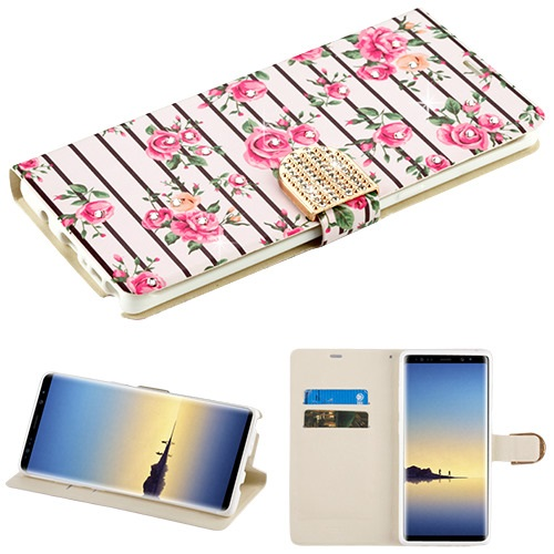 For Samsung Galaxy Note 8 Diamante Bling MyJacket Flip Wallet Phone Case Cover