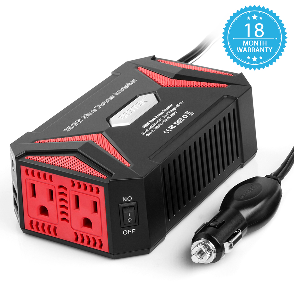 BESTEK 400 Watt Power Inverter DC 12V to AC 110V Car Adapter with 5A 4 USB Charging Ports