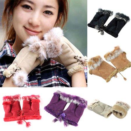 Heepo Women's Winter Faux Rabbit Fur Faux Leather Fingerless Mittens Wrist Gloves - White Magician Gloves