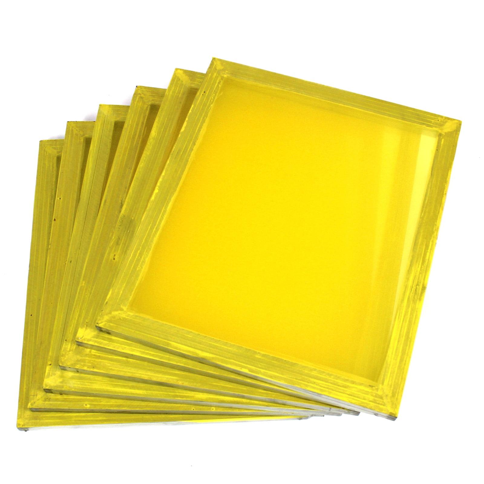 "6 Aluminum Silk Screen Printing Press Screens 355 TPI Yellow Mesh 20""x24"""