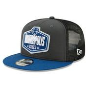 Indianapolis Colts New Era Youth 2021 NFL Draft Trucker 9FIFTY Snapback Adjustable Hat - Graphite/Royal - OSFA
