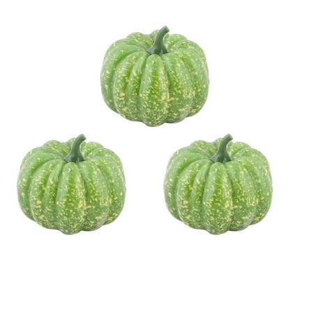 Plastic Desk Table Decor Simulation Artificial Vegetable Pumpkin Green 3 Pcs (Plastic Pumpkin)