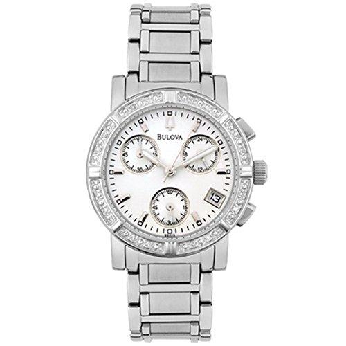 BULOVA White Dial Stainless Steel Diamond Quartz Chrono L...