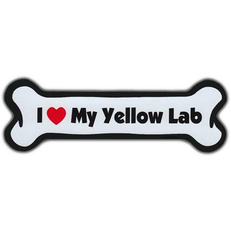 Yellow Refrigerator - Dog Bone Magnet: I Love My Lab (Yellow) | For Cars, Refrigerators, More