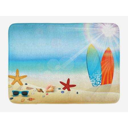 Seashells Bath Mat Holiday Theme Sunglasses Beach Summer