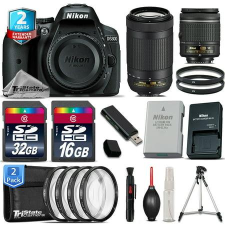 Nikon D5300 DSLR Camera + AF-P 18-55mm VR + 70-300 IS USM + 4PC Macro - 48GB