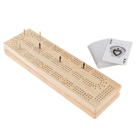 Wood Cribbage Board Game Set- Complete Set With Playing Cards, Pegs, Wood Board and Storage Area for Adults and Kids, Boys and Girls by Hey! Play! (Adult Online Stores)