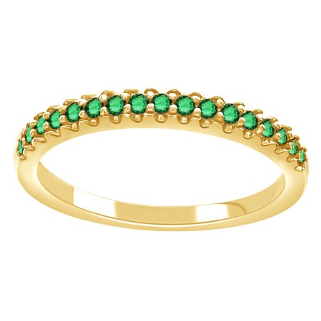 14K Yellow Gold Over Sterling Silver Round Cut Simulated Green Emerald CZ Half Eternity Band Ring By Jewel Zone US