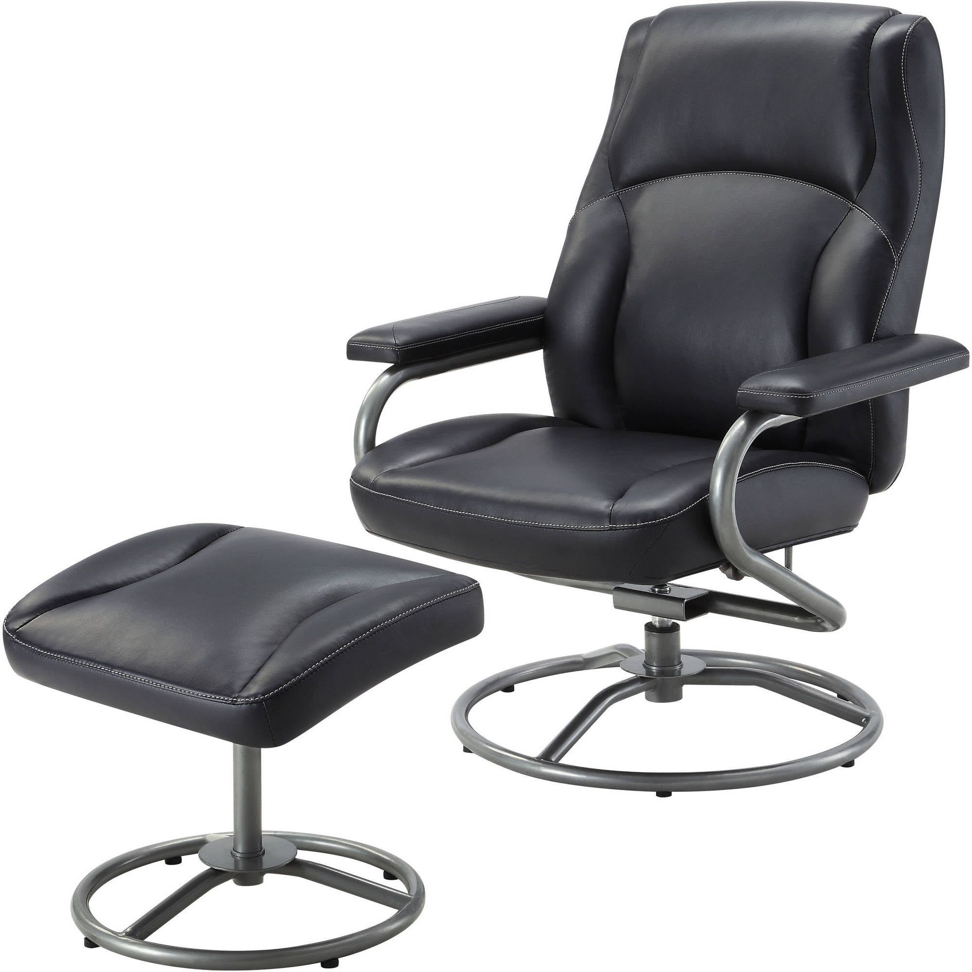 Mainstays Plush Pillowed Recliner Swivel Chair And Ottoman Set, Vinyl,  Multiple Colors   Walmart.com