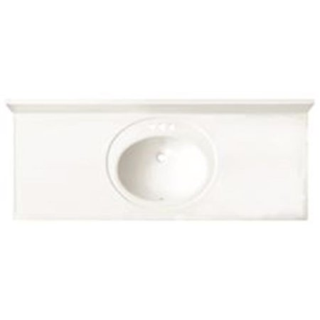 Bathroom Vanity Top with Single Recessed Bowl, Cultured Marble - 22 x 61 in.