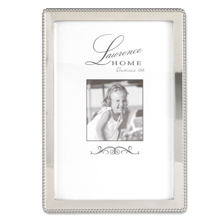 lawrence frames 4x6 metal picture frame with outer border of beads silver. Black Bedroom Furniture Sets. Home Design Ideas