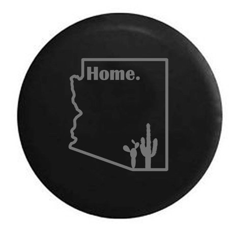 (Arizona Desert Cactus Home State Edition Spare Tire Cover Vinyl Stealth Black 27.5 in)