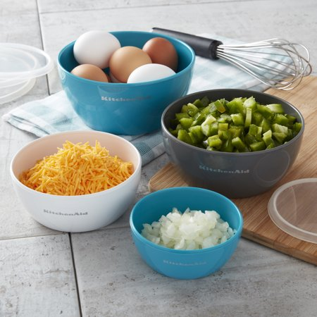 KitchenAid 4 Piece Prep Bowl Set with Lids, Assorted Sizes and Colors