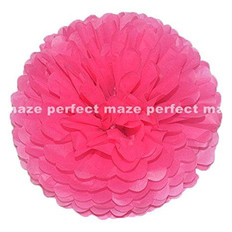 "Perfectmaze Tissue Paper Pom Pom Wedding/Baby Shower/Birthday Party/Nursery Decorations (6"" ,Black, 1 Piece)"