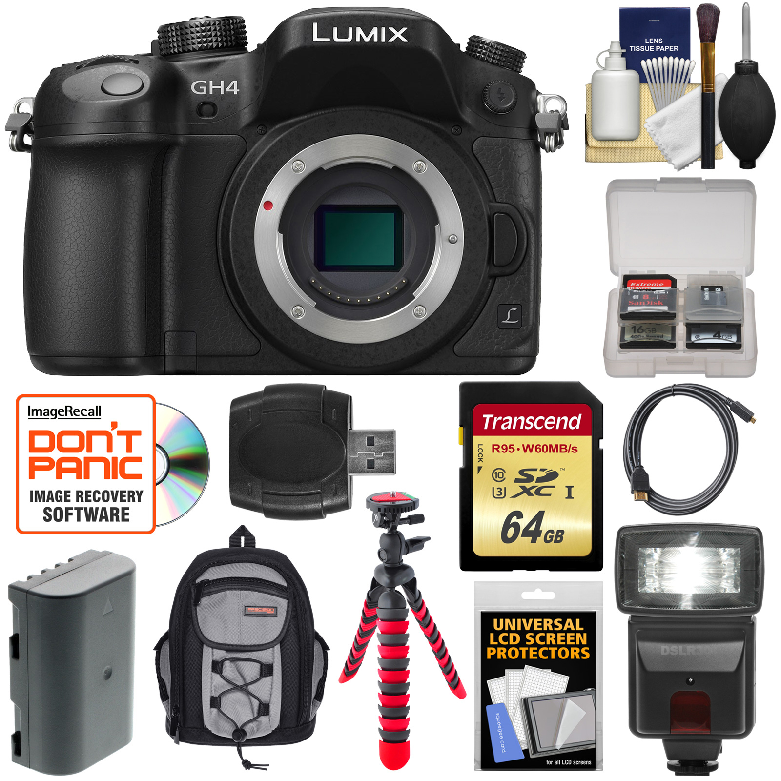 Panasonic Lumix DMC-GH4 4K Micro Four Thirds Digital Camera Body with 64GB Card + Battery + Backpack Case + Flex Tripod + Flash + Accessory Kit