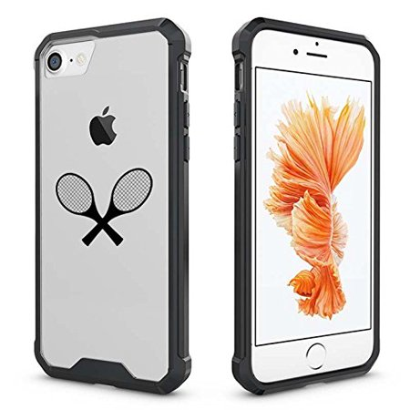 For Apple iPhone Clear Shockproof Bumper Case Hard Cover Tennis Racquets (Black For iPhone 8 Plus)