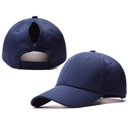 2018 New Fashion Ponytail Baseball Cap Women Messy Bun Caps Adjustable Snapback Trucker Cotton Hats Sports Outdoor - Navy