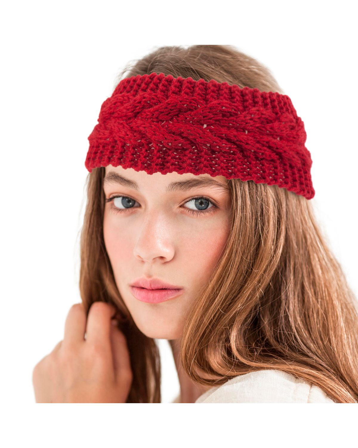 Kids Baby Big Button Knitted Wide Headband Crochet Warm Ear Hairband Solid Color